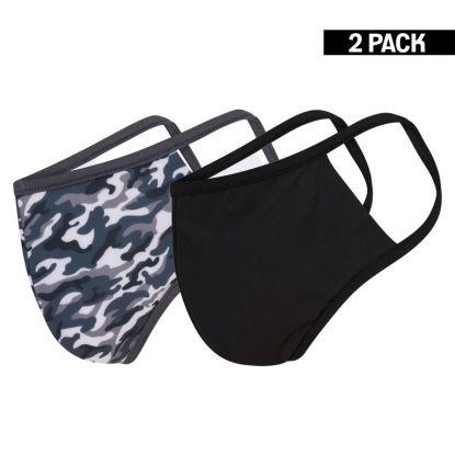 Heren 2-Pack Mondkapjes Camouflage/Zwart maat M