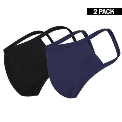 Heren 2-Pack Mondkapjes Zwart/Donkerblauw maat M